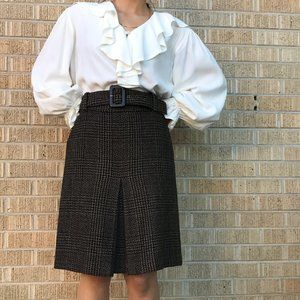 Vintage 1990s pleat front skirt ann taylor brown 4